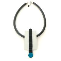 Halsband i aluminium och gummi, ALU015